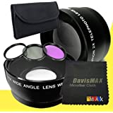 62mm Wide Angle + 2x Telephoto Lenses + 3 Piece Filter Kit For Sony Alpha SLT-A37 With Sony 18-250mm DT Lens +...