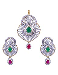 Gehna American Diamond, Big Size Ruby & Emerald Studded Pendant & Earring Set