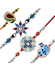 Mahi With Crystal Rhodium & Gold Plated Blue, Pink & Red Floral Feather Combo Of Four Rakhi CO1104529M