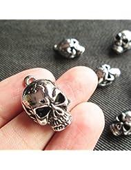 6 Skull Head Skeleton Charms Ghost Rider Voodoo Dark Tibetan Silver Tone Supplies (NS219)