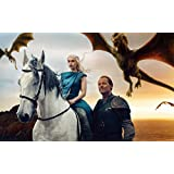 Posterhouzz TV Show Game Of Thrones Dragon Emilia Clarke Horse Daenerys Targaryen HD Wall Poster