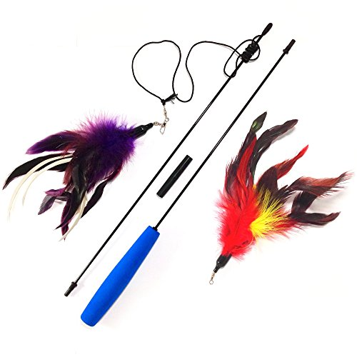 Multi Feather Teaser and Exerciser For Cat and Kitten - Cat Toy Interactive Cat Wand