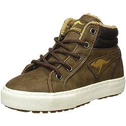 KangaROOS Unisex-Kinder Kavu I Hohe Sneakers, Braun (Dk Brown/Sand 343), 35 EU