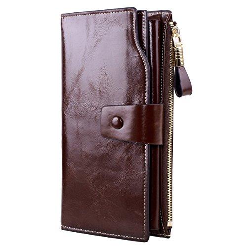 GDTK Grande capacité de cire de luxe en cuir véritable Portefeuille femme avec fermeture éclair de poche (Café)