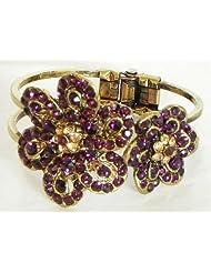 Purple Stone Studded Oxidised Metal Hinged Bracelet - Metal