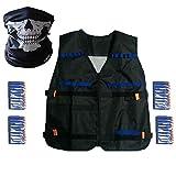 Elite Tactical Vest Kit for Nerf N-strike Elite Series,40-Dart Refill Pack,seamless skull face mask