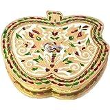 JaipurCrafts Apple Shaped Aluminium, Wooden Decorative Platter (Multicolor)