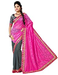 Grey And Pink Faux Georgette And Net Brasso Saree With Blouse
