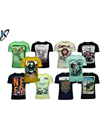 Krystle Pack Of 10 Assorted Prints Casual Multicoloured Round Neck T-Shirt
