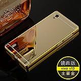 Metal Bumper Plastic Mirror Back Cover Case For Vivo Y15 (4.5 Inch)- GOLD