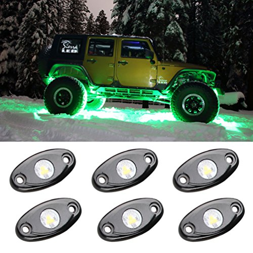 LED Rock Light Kits 6 Pod LED Light Lamp for Interior Exterior Under Off Road Truck Jeep ATV SUV Jeep 4×4 Boat 4wd Motorcycle Car (Green)
