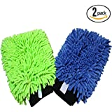 (2-Pack) THE RAG COMPANY Premium Soft Microfiber Chenille Knobby SCRATCH-FREE, LINT-FREE Wash Mitts, One Royal...