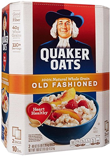 Quaker oats, old fashioned, two 5 lb. bags