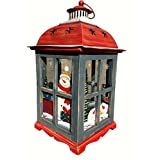 Holiday Candle Holder Lantern With Handpainted Christmas Snowman Decorations - Glass, Wood, And Tin