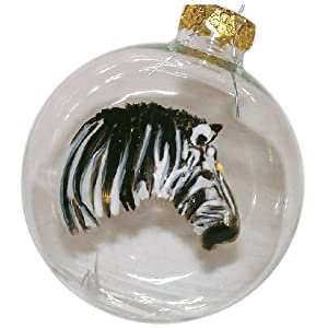 ArtisanStreet's Zebra Ornament. Hand Painted Glass Ball Ornament. One of a Kind, Signed.