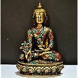 "10"" Medicine Buddha Statue - Coral Gemstones Hand Work On Brass Sculpture - Large Tibetan Buddha Decor"