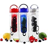 Fruit Infused Water Bottle - 24 Oz. Shatter Proof Tritan, Create Your Own Delicious Fruit Water, Lemonade Or Tea...