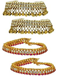 High Trendz Combo Of Two Bollywood Style Ethnic Gold Plated Anklets With Ghungroos, Cz Stones And Kundan Studded...