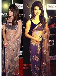 Fabboom New Priyanka Chopra In Cream Net Saree At Saifta Awards 2013
