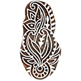Hashcart Floral Design Wooden Printing Stamp Block Hand-Carved For Saree Border Making Pottery Crafts Heena Printing