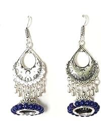 Sansar India Designer Silver Dangler Drop Style Jhumki Earrings For Girls And Women