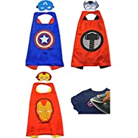 Avengers Style Superhero Capes & Masks With 1 Patch (Captain America, Iron Man, Thor)