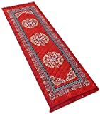 Yellow Weaves Polyester Bedside Runner - 2 ft x 6 ft, Red, WI414
