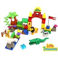 Little Treasures Happy Zoo 66 Pcs Building Block Set For Toddlers And Preschoolers; Interlocking Bricks, Construct...