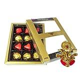 Chocholik Luxury Chocolates - Gift Of Elegance 12pc Chocolate Box With Ganesha Idol - Diwali Gifts