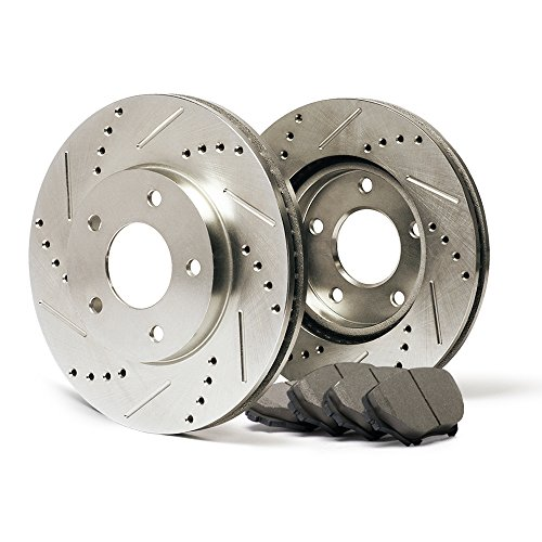 Max KT063231 Front Premium Slotted & Drilled Rotors and Ceramic Pads Combo Brake Kit