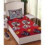 Athom Trendz Disney Minnie Mouse 104 TC Cotton Single Bedsheet With 1 Pillow Cover - Modern, Blue