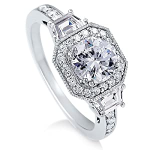 Sterling Silver Ring Round Cubic Zirconia CZ Ring 2.1 ct.tw - Nickel Free Engagement Wedding Ring Size 7