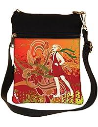 Snoogg Abstract Illustration Cross Body Tote Bag / Shoulder Sling Carry Bag