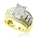10K Yellow Gold Wedding Ring 1ctw Diamonds Princess Baguette Round