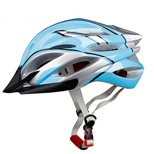 [Kuyou]Adult Road/Mountain Cycling Bike Helmet Use Mountain Racing Mtb/Road Bike Helmets with Visor for Men Women Youth,(Blue +Silver)