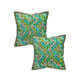 Rajrang Green Cotton Mirror Work Cushion Cover Set Of 2 Pcs #Ccs05596