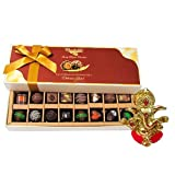 Chocholik Belgium Chocolates - Amazing Combination Of 8 Dark And 8 Milk Chocolate Box With Ganesha Idol - Diwali...