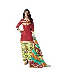 Sonal Trendz Maroon Color Patiyala Pure Cotton Dress Material.Festive Wear Pure Cotton Suit With Lace