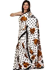 Exotic India Ivory Sari With Large Printed Roses And Polka Dots - Ivory