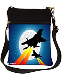 Snoogg Moon And Jet Fighters Cross Body Tote Bag / Shoulder Sling Carry Bag
