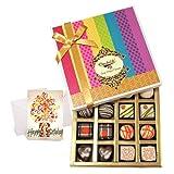 Chocholik Luxury Chocolates - Sensation Of Dark And White Truffles And Chocolate Box With Birthday Card