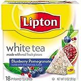 Lipton Pyramid Tea Bags, White With Blueberry Pomegranate, 18 Count Tea Bag