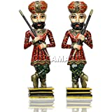 APKAMART Handcrafted Wooden Darbaan Or Royal Guards - 18 Inch - Set Of 2 – Showpiece Figurine Cum Decorative Figures For Home Decor, Room Decor And Gifts