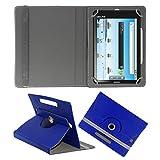 ACM ROTATING 360° LEATHER FLIP CASE FOR DATAWIND UBISLATE 3G7 TABLET STAND COVER HOLDER DARK BLUE