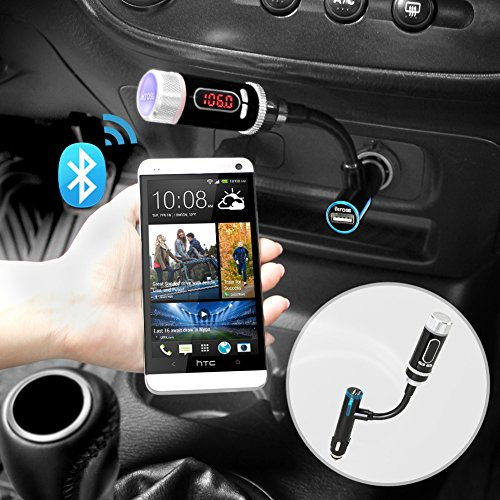 FM Transmitter, iKross Multifunction A2DP Bluetooth Car Radio FM Transmitter with Handsfree – Black