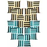 Cross Patti Cushion Covers Combo Beige,Black/Blue,Sky Blue 40 X 40 Cms(10 Pcs Set)