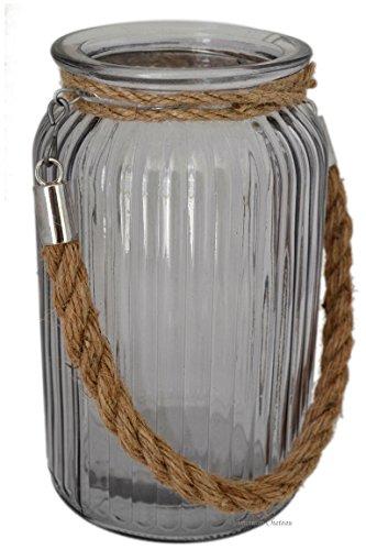 "Large 7"" Nautical Glass Hurricane Candle Holder Lantern With Jute Rope Handle"
