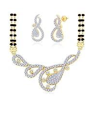 "Peora Valentine 18 Karat Gold Plated Cubic Zirconia ""Nandika"" Mangalsutra Earrings Set PM92GJ"