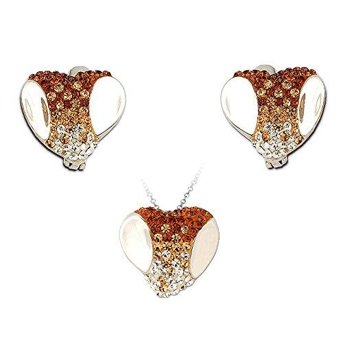Exxotic Fashion Sterling Silver Orange & White American Diamond Earring Pendant Set For Women
