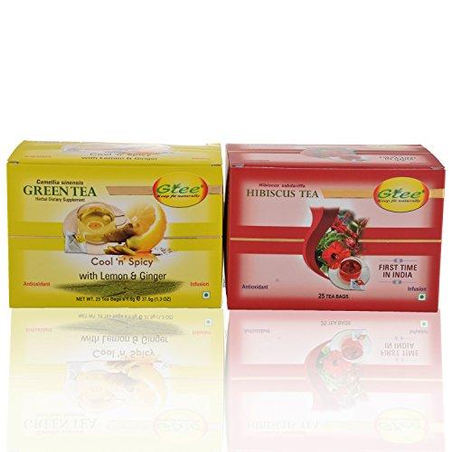 GTEE Green Tea Bags - Lemon & Ginger & Hibiscus Tea Bags (25 Tea Bags X 2PACKS)